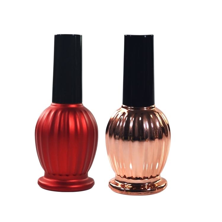 Hot sale 7ml 9ml 11ml 13ml 15ml 17ml black red nail polish bottle with black cap