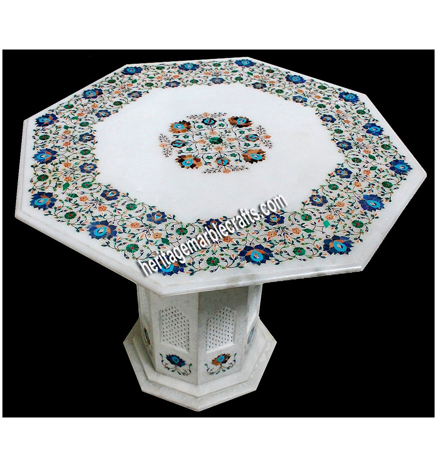Shop White Marble Inlay Art Table Tops Online