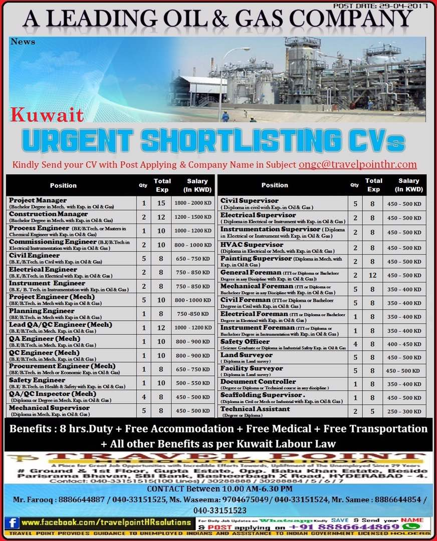 Kuwait urgent short listing CVs classified at New India Classifieds