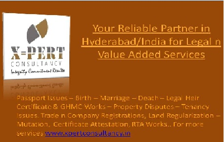Your Reliable Partner in Hyderabad/India for Legal n Value Added Services.